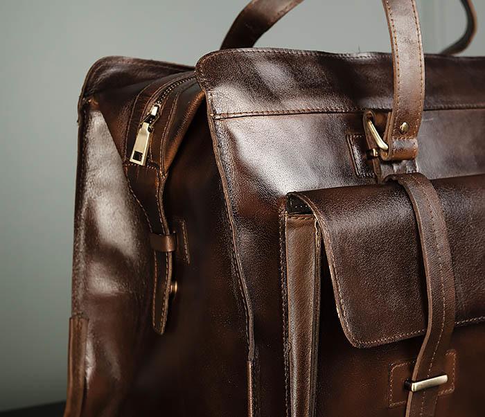 BAG468-2 Мужская сумка саквояж из натуральной кожи фото 03