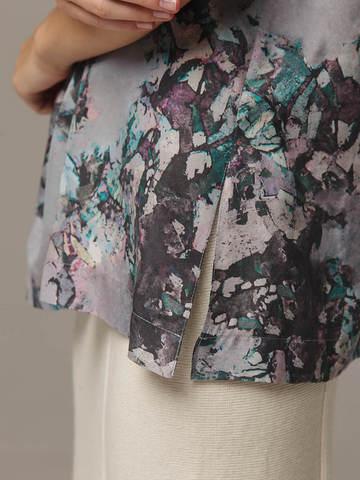 Printed female top made of 100% silk - фото 3