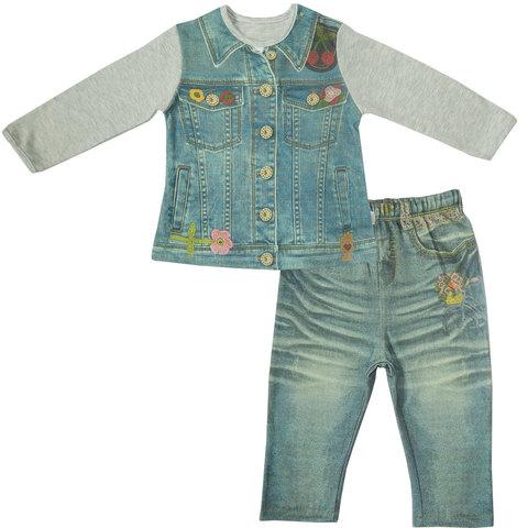 Папитто. Комплект кофточка и штанишки с вышивкой для девочки FASHION JEANS