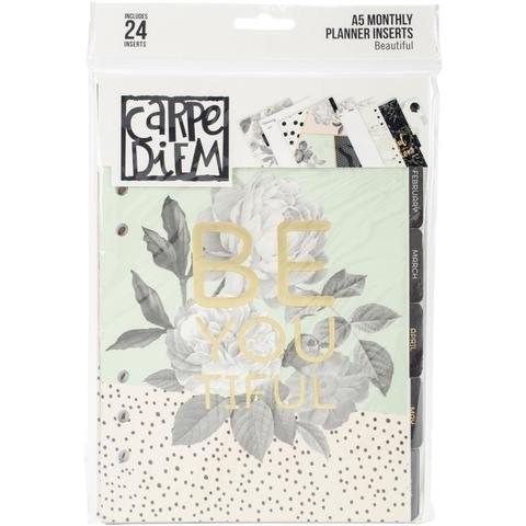 Внутренний блок ежемесячных страниц с разделителями  для планера  A5- Carpe Diem Beautiful  -24л