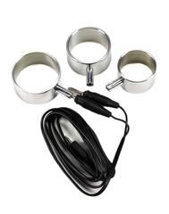 Жлезные электро-кольца для пениса, монополярные, 3 шт. Rimba Electro Set Aluminum Cock Rings, 3 Sizes Uni-Polar