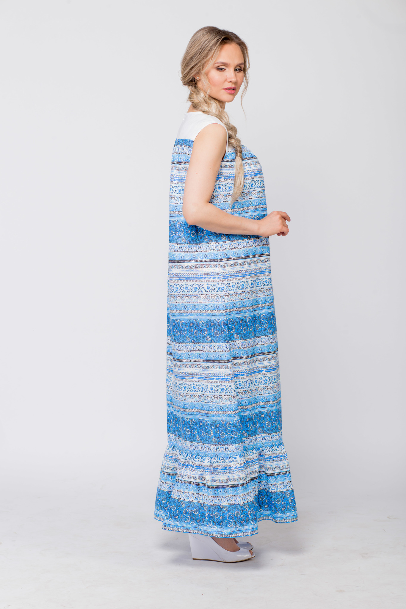 Платье льняное Утренняя роса вид сбоку