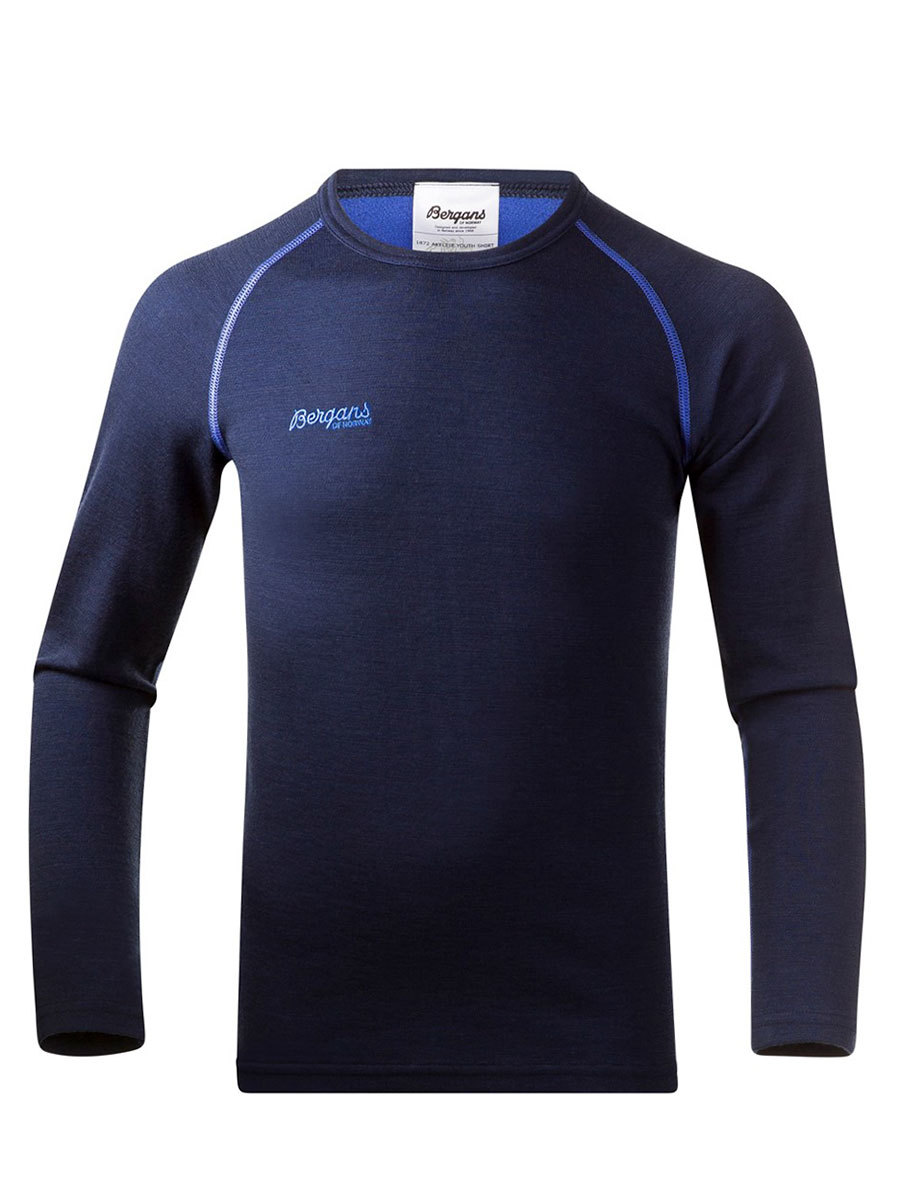 Bergans термобелье 1872 футболка Akeleie Youth Shirt Navy/Warm Cobalt