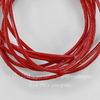 Шнур (нат. кожа), 1,5 мм, цвет - красный, примерно 1 м