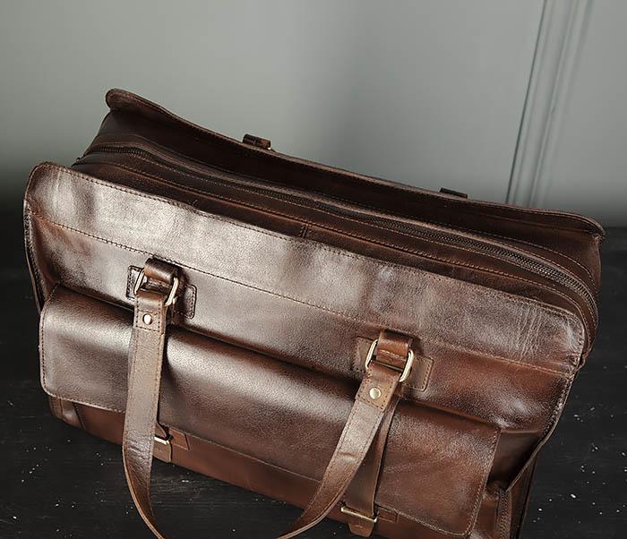 BAG468-2 Мужская сумка саквояж из натуральной кожи фото 08