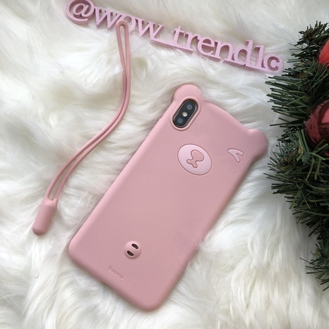 Чехол iPhone X/XS Baseus Bear Case /pink/