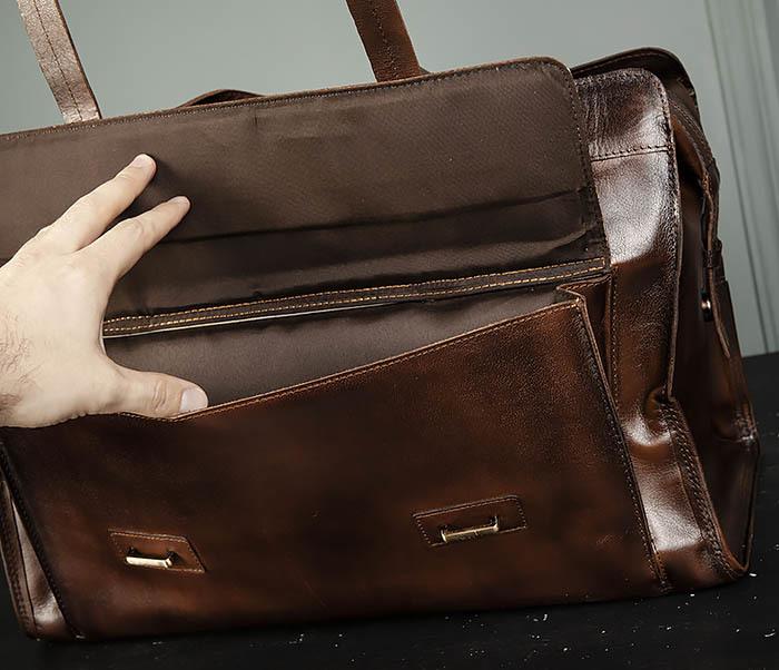 BAG468-2 Мужская сумка саквояж из натуральной кожи фото 09