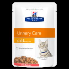Пауч для кошек Hill`s Prescription Diet c/d Multicare, профилактика МКБ, растворение струвитов, с лососем