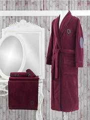 LUXURE бордовый  махровый халат  SOFT COTTON (Турция) .