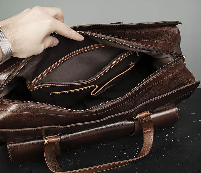 BAG468-2 Мужская сумка саквояж из натуральной кожи фото 10