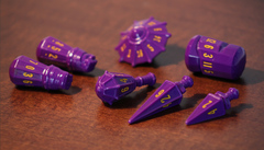 PolyHero dice warrior set vorpal purple & amber