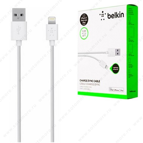 Кабель BELKIN Lightning to USB 1.2 метра белый