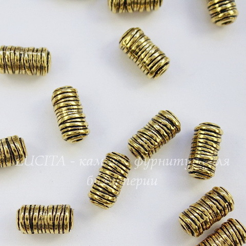 "Бусина металлическая - трубочка ""Катушка ниток"" 11х6 мм (цвет - античное золото)"