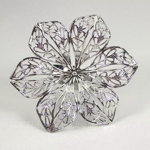 Основа для кольца с филигранным цветком 42 мм  (цвет - платина)