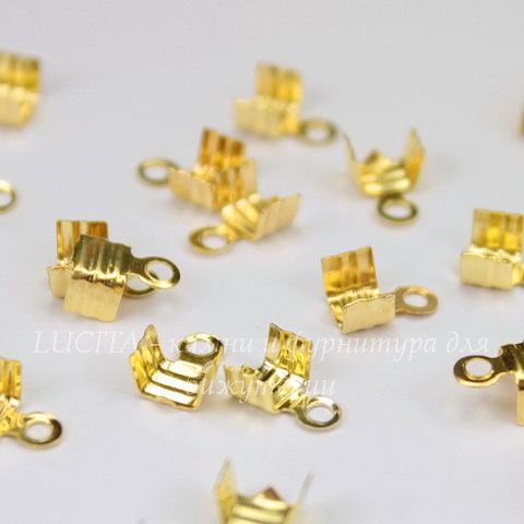 Концевик для шнура 3,5 мм (цвет - золото) 7х4 мм, 20 штук
