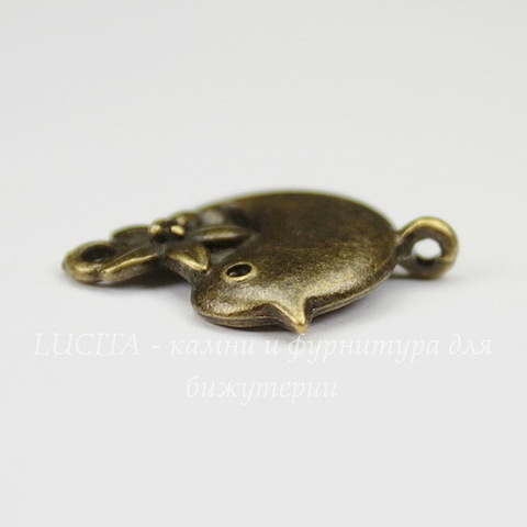 "Коннектор ""Птичка с цветком"" (1-1) 22х18 мм (цвет - античная бронза)"