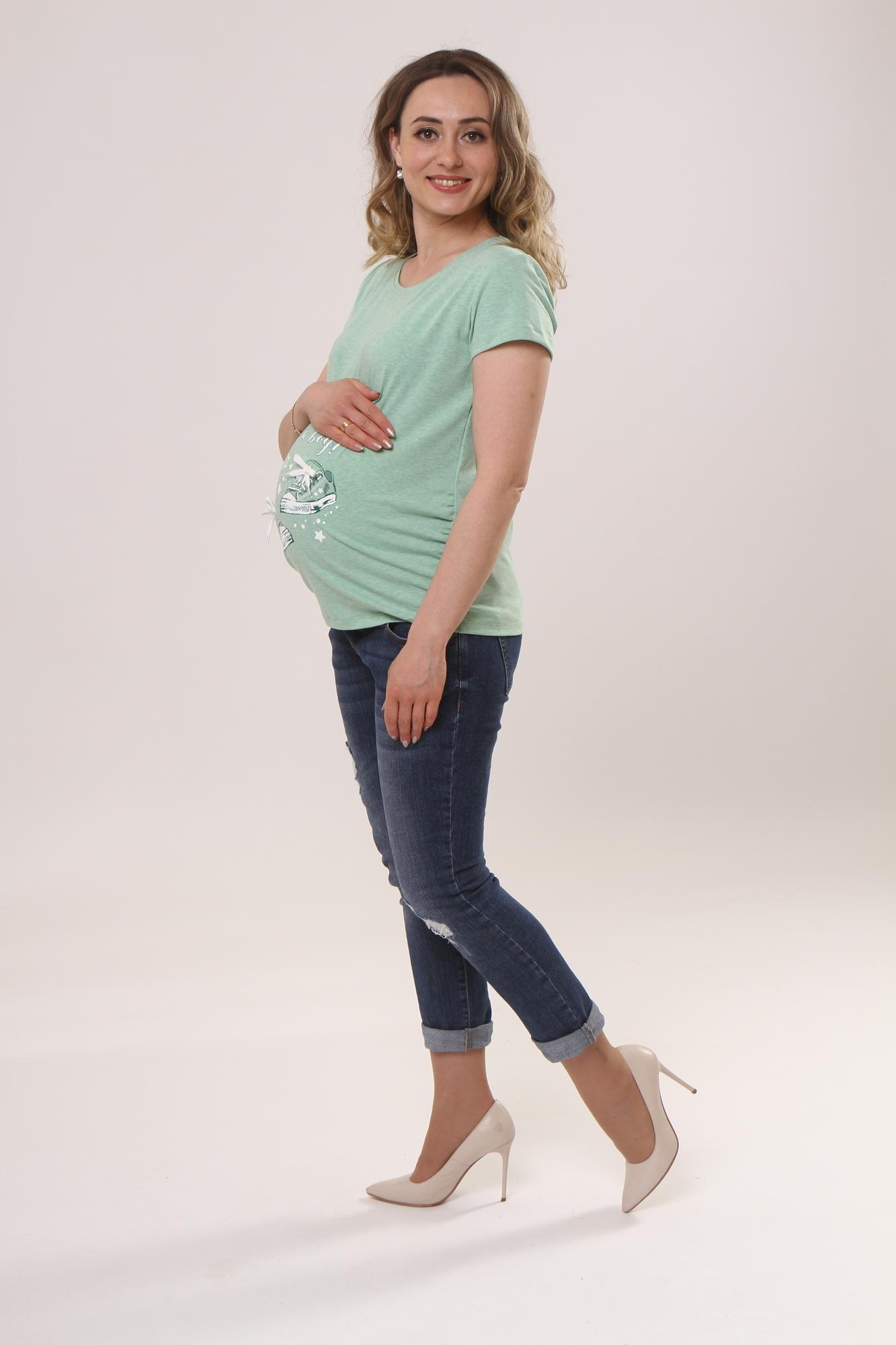 Футболка для беременных 10525 ментол/кеды