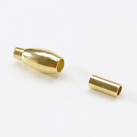 Замок для шнура 2,7 мм магнитный из 2х частей, 20х7 мм (цвет - золото)