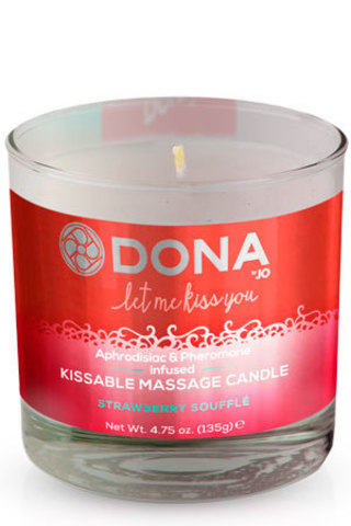 DONA Kissable Massage Candle Strawberry Souffle 135 г (съедобная)