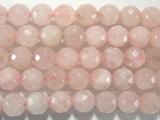 Нить бусин из кварца розового, фигурные, 10 мм (шар, граненые)