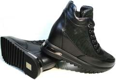 Купить кожаные сникерсы Evromoda 965 Black