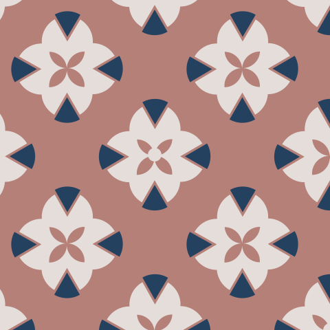 Geometric stylized retro flowers
