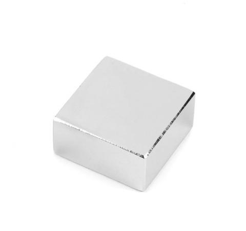 Магнит 30х30х10 мм, N38, никель, неодимовый блок