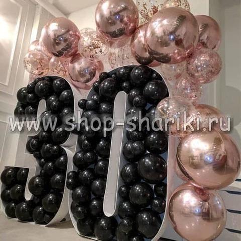 Оформление шарами на 30 лет