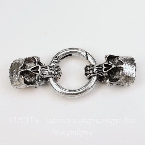 """Замок для шнура 11х6 мм из 3х частей """"Черепа"""", 58х25 мм (цвет - античное серебро)"""