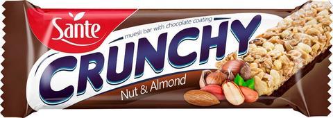 Sante Батончик мюсли Crunchy с орехами и миндалем в шоколаде, 40г
