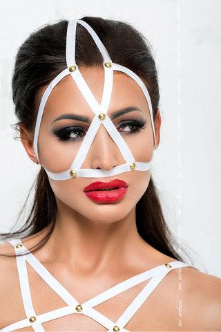 Эротическая маска из ремешков белая