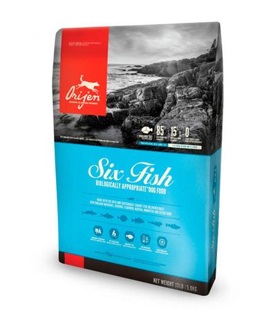 Orijen Adult 85/15 Six Fish корм беззерновой для собак гипоаллергенный 6 видов Рыбы 2 кг