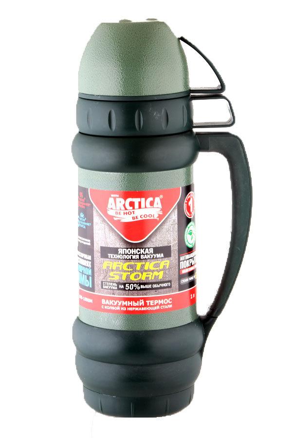 Термос Арктика (1 литр) с узким горлом, зеленый, эмаль*