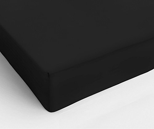 Простыня на резинке 160x200 Сaleffi Tinta Unito перкаль черная