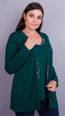 Дона. Жакет+блуза для женщин больших размеров. Изумруд.