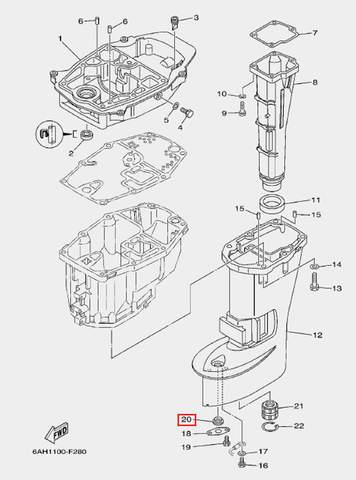Уплотнитель для лодочного мотора F20 Sea-PRO (21-20)