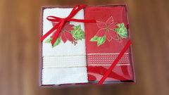 Набор махровых салфеток Новый год ЦВЕТОК 2пр 45х70  La Villa Турция