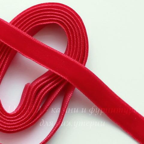 Лента бархатная, цвет - красный, 10 мм, примерно 1 м