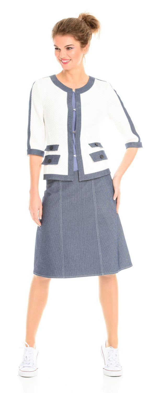 Юбка Б023-307 - Джинсовая юбка А силуэта модной длины ниже колена. Эта модель выгодно подчеркнет любую фигуру и скроет недостатки