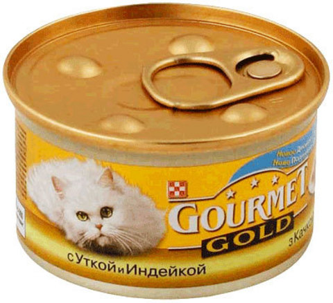 Gourmet Мясной тандем в соусе Gourmet Gold с уткой и индейкой. 85 г