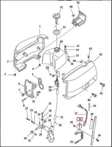 Кронштейн кнопки для лодочного мотора T2,5 SEA-PRO (1-35)