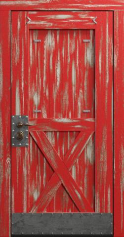 Входная дверь «Loft» в цвете, Эмаль красная (массив сосны)