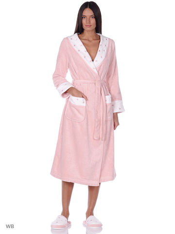 LAVOINE BUTTEFLY - ЛАВОИН БАБОЧКИ длинный махровый женский халат с тапочками Maison Dor Турция