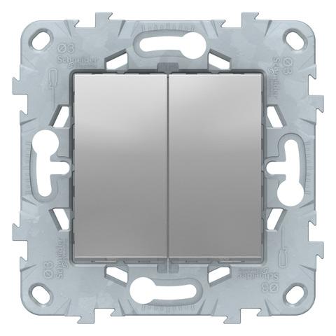 Выключатель двухклавишный. Цвет Алюминий. Schneider Electric Unica New. NU521130