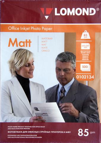 Двусторонняя матовая/матовая фотобумага Lomond для струйной печати, 85 г/м2, А4, 500 листов (0102134)