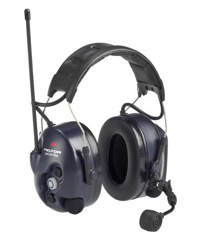 Активные наушники LiteCom Plus LPD, микрофон на жёсткой штанге, стандартное оголовье, тёмно-синие чашки