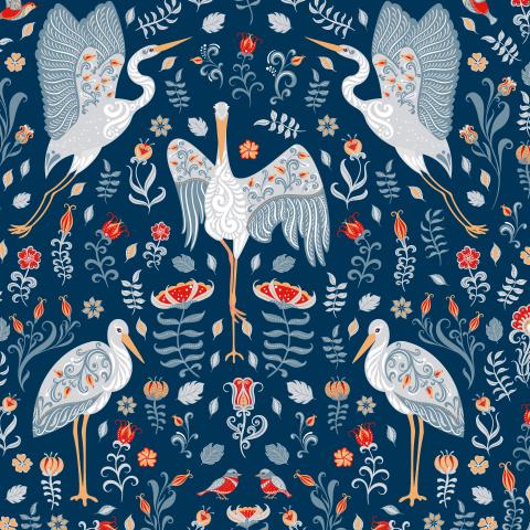 Белые аисты с орнаментами, цветы на синем фоне. (Дизайнер Irina Skaska)