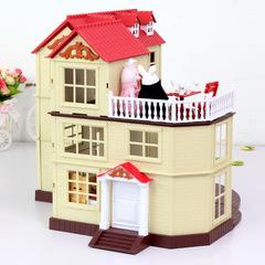 Домик зайчиков-молодоженов Happy family 012-10 (PT-00308) без обоев с парочкой зайчиков и 2 наборами мебели для кухни