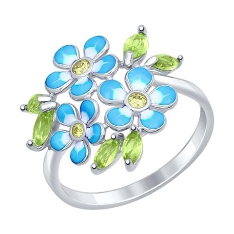 Кольцо из серебра с хризолитами от SOKOLOV