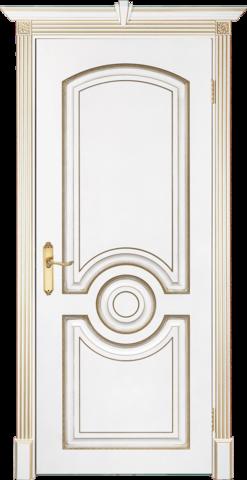 Дверь Prestigio Лувр-5, цвет  белый/патина золото, глухая